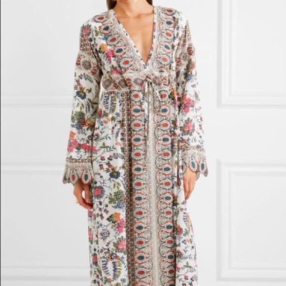 7fb7a69fb1a Tory Burch Dresses | Silk Tunic Embroidered Maxi Dress Cover | Poshmark